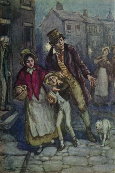 Illustration for Oliver Twist by Charles Dickens (colour litho)