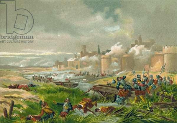 Battle of St Quentin, France, 1557 (chromolitho)