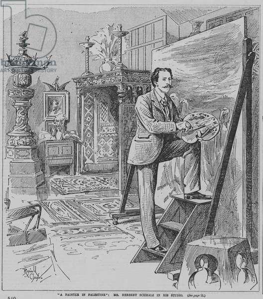 English Pre-Raphaelite painter Herbert Schmalz at work in his studio (engraving)