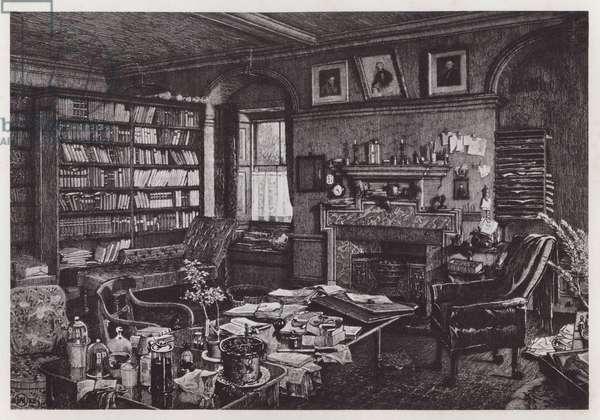 Charles Darwin's study at Down House (litho)