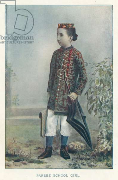 Indian Natives: Parsee School Girl (coloured photo)