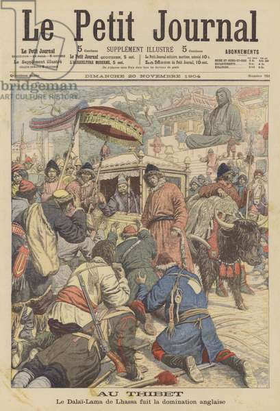 The Dalai Lama fleeing Tibet as a British expedition arrives in Lhasa (colour litho)