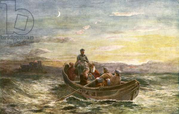 The escape of Mary Queen of Scots from Loch Leven Castle (colour litho)