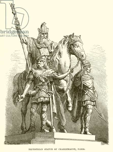 Equestrian statue of Charlemagne, Paris (engraving)