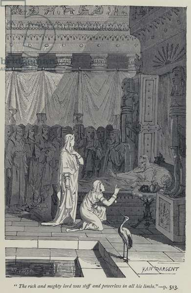 """""""The rich and mighty lord was stiff and powerless in all his limbs"""" (engraving)"""