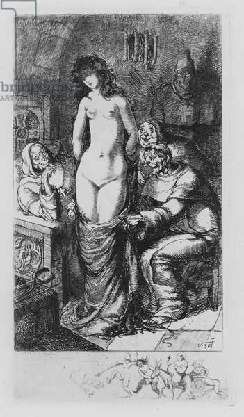 Scene from Leonore et Clementine, erotic novel by the Marquis de Sade (etching)