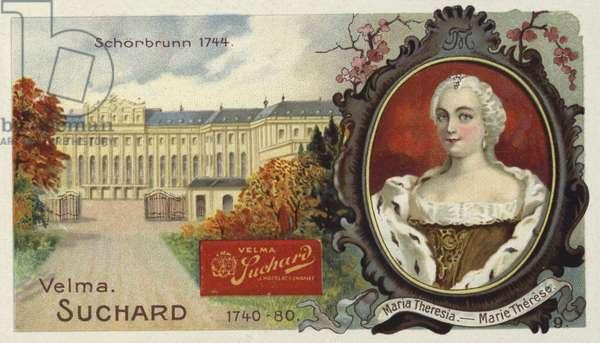 Empress Maria Theresa of Austria, and Schonbrunn Palace, Vienna (chromolitho)