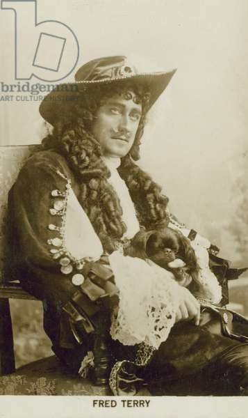 Fred Terry, English actor and theatre manager, as King Charles II in Paul Kester's play Sweet Nell of Old Drury (b/w photo)
