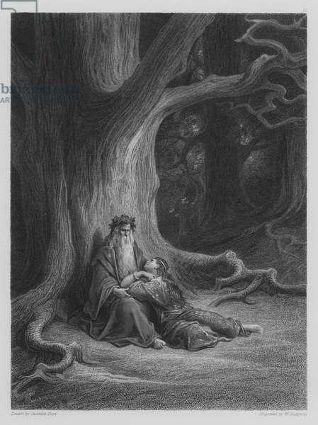 Vivien and Merlin repose (engraving)