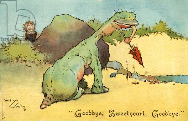 Caveman watching a dinosaur devouring his sweetheart (chromolitho)
