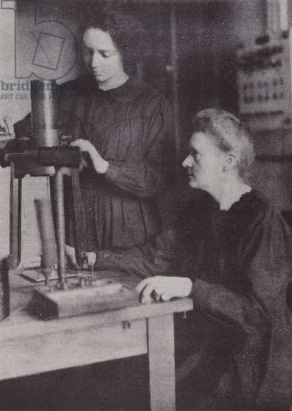 Madame Curie and her daughter Irene, 1925 (b/w photo)