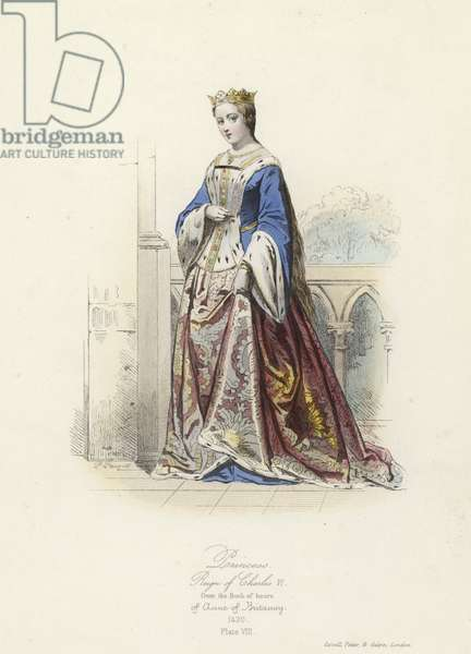 Princess of the reign of Charles VI of France (coloured engraving)