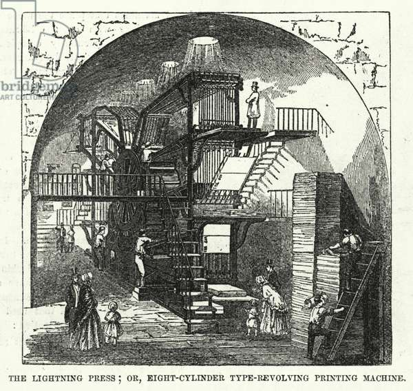 The Lightning Press; or, Eight-Cylinder Type-Revolving Printing Machine (engraving)