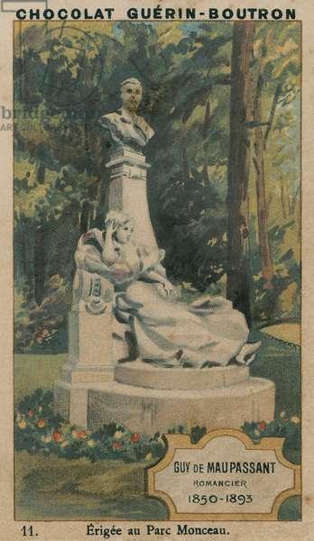 Guy de Maupassant, Romancier, 1850-1893, Erigee au Parc Monceau (chromolitho)