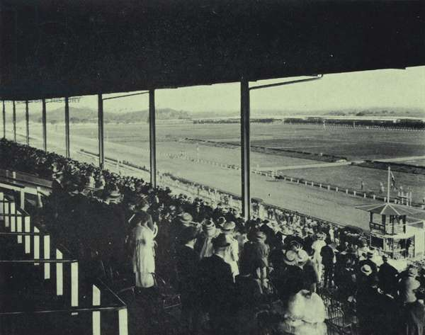 Racecourse from the grandstand, Oriental Park, Havana, Cuba (b/w photo)