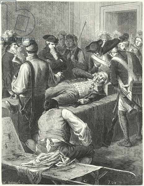 The wounded Maximilien Robespierre at the Committee of Public Safety awaiting his execution, 1794 (engraving)