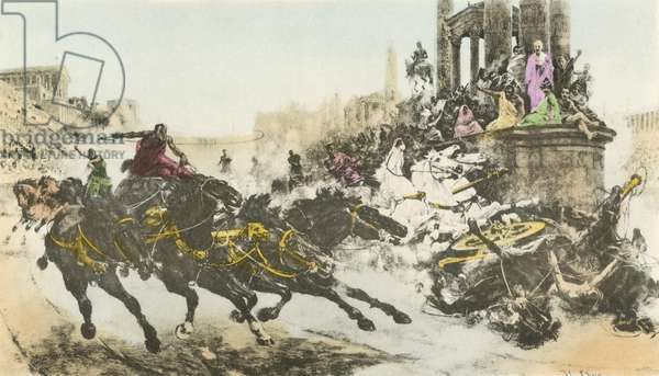 Roman chariot race (colour litho)