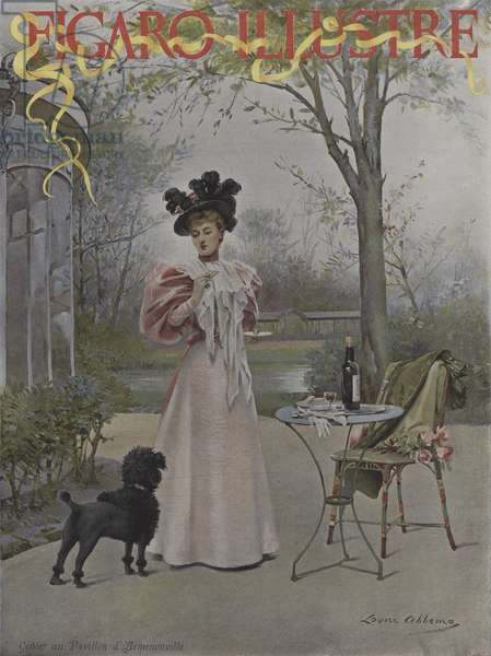 Gouter au Pavillon d'Armenonville (Tasting at  the Pavillon d'Armenonville). Cover of Le Figaro Illustre, May 1895 (colour litho)