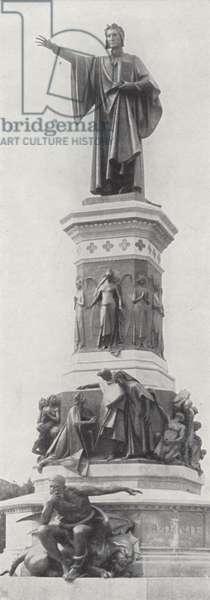 Monument Dante Alighieri, Trient (b/w photo)