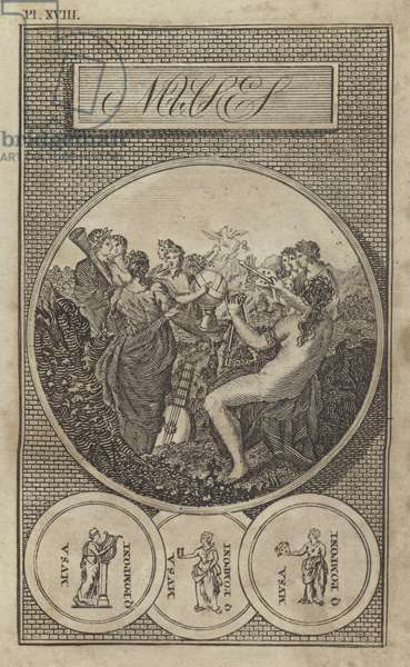 The Muses, ancient Greek and Roman goddesses of literature, science and the arts (engraving)