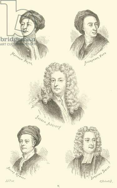 Matthew Prior, Alexander Pope, Joseph Addison, Allan Ramsay, Jonathan Swift (engraving)