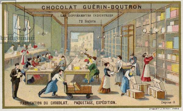 Chocolate manufacturing. Packing and shipping (chromolitho)