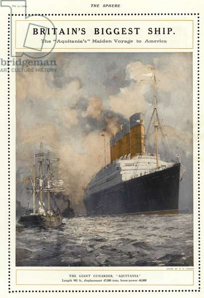 Maiden voyage of the Cunard liner Aquitania to America, 1914 (colour litho)