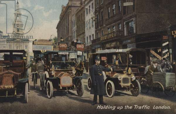 Holding up the Traffic, London (coloured photo)