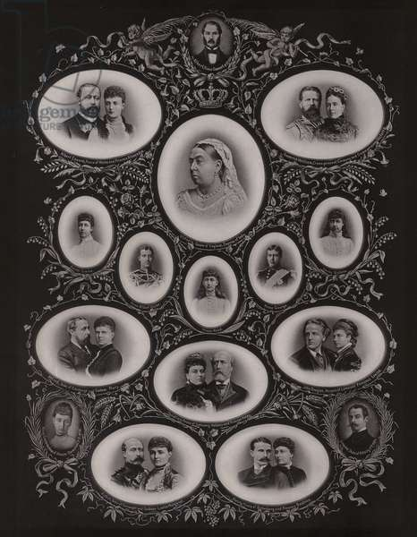 Queen Victoria and her family (b/w photo)