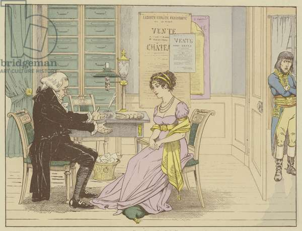 """Master Raguideau, notary of the widow Beauharnais says to her, unaware that he is overheard: """"You! Marry this little Bonaparte, a soldier who has nothing but a cape and sword."""", 9 March 1796 (colour litho)"""