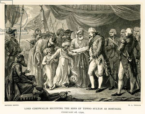 Lord Cornwallis receiving the sons of Tippoo Sultan as hostages (engraving)
