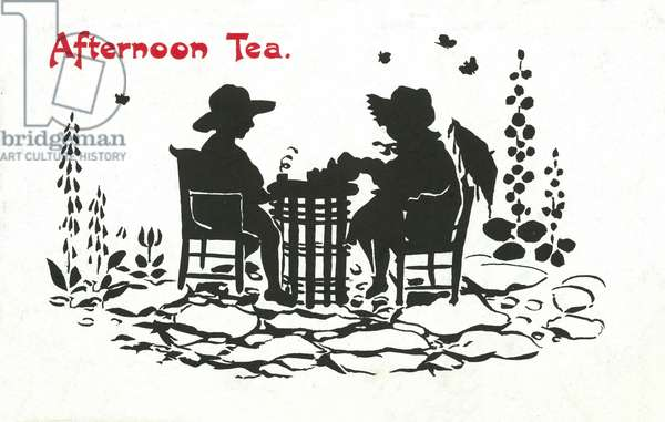 Silhouette of a boy and girl taking afternoon tea in a garden (colour litho)