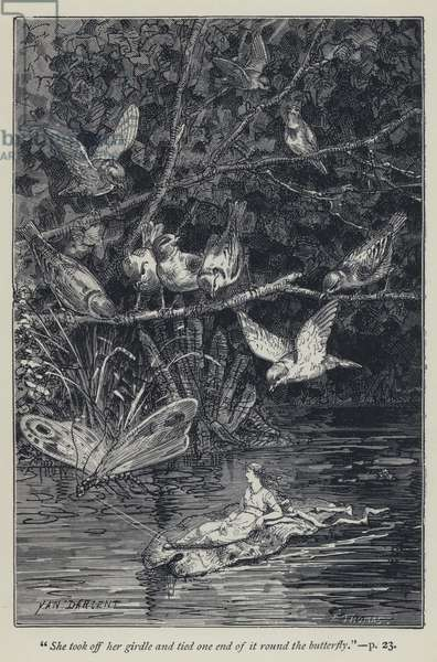 """""""She took off her girdle and tied one end of it round the butterfly"""" (engraving)"""