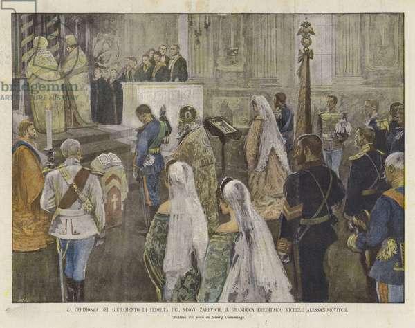 La Cerimonia Del Giuramento Di Fedelta Del Nuovo Zarevich, Il Granduca Ereditario Michele Alessandrovitch (colour litho)