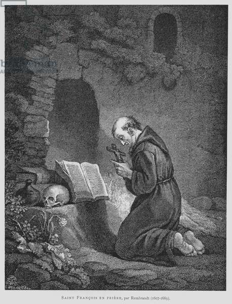 St Francis of Assisi Praying (litho)