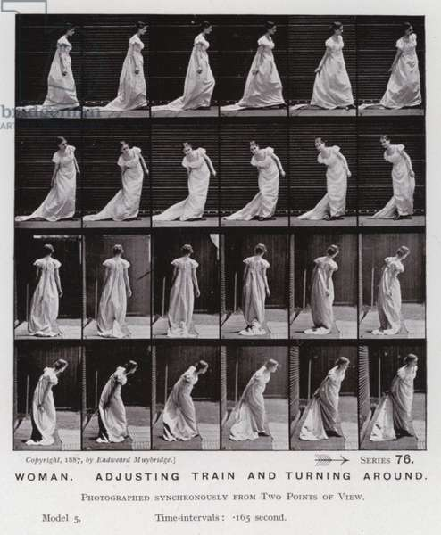 The Human Figure in Motion: Woman, adjusting train and turning around (b/w photo)