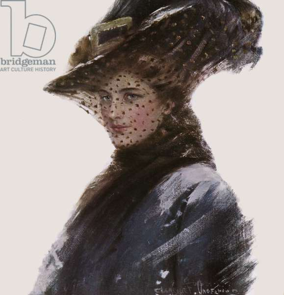 Portrait of a woman wearing a hat and a veil (colour litho)
