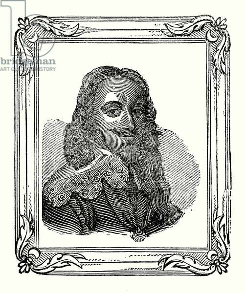 Charles I was born in 1600, crowned in 1625, and beheaded in 1649 (engraving)