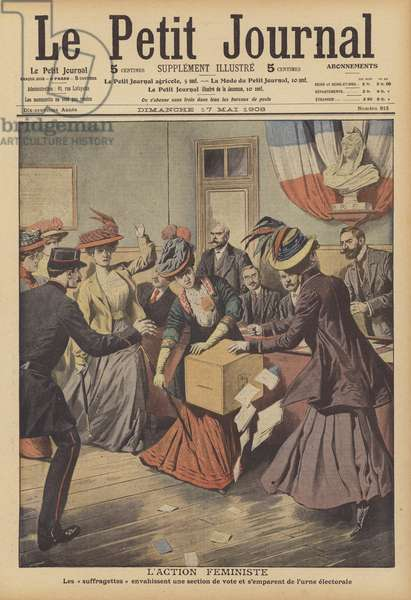 French suffragettes invading a polling station and attempting to remove a ballot box (colour litho)