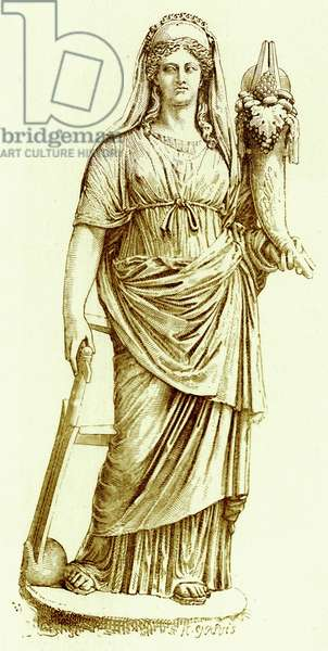 Fortuna, statue in the Vatican, illustration from 'History of Rome' by Victor Duruy, published 1884 (digitally enhanced image)