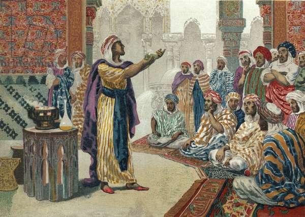 Jabir ibn Hayyan teaching chemistry in Edesa