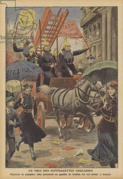 British suffragettes travelling along a London street in a fire engine wearing firemen's uniforms (colour litho)