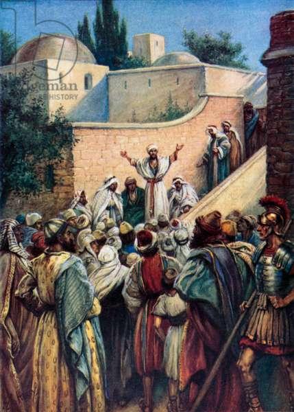 Peter tells them about Jesus (colour litho)
