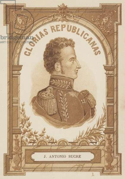 Antonio Jose de Sucre, Venezuelan political and military leader (litho)