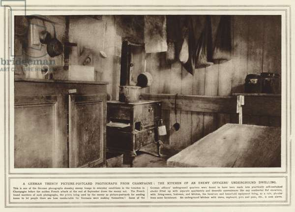 A German trench picture-postcard photograph from Champagne, the kitchen of an enemy officers' underground dwelling (b/w photo)