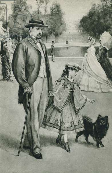 Louis Pasteur takes a walk, little did this small child dream as she walked in the Tuileries Gardens with her daddie, how great and immortal he was (litho)