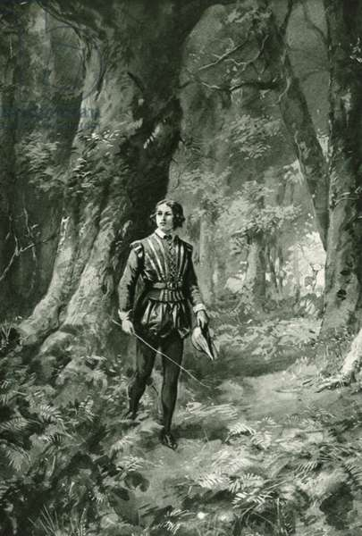 William Shakespeare walking in woodlands (litho)