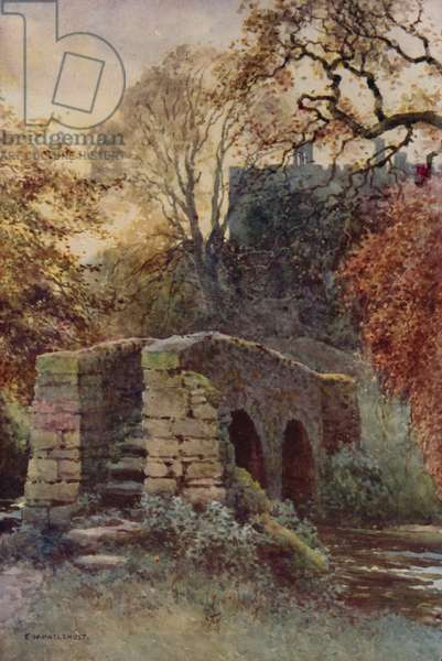 Dorothy Vernon's Bridge, Haddon (colour litho)