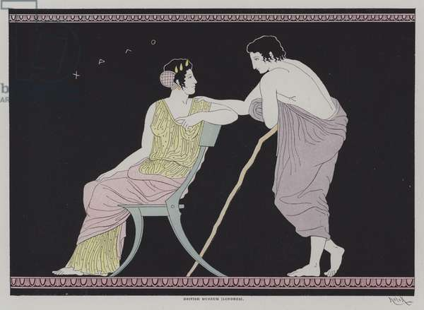 Illustration from Ancient Greek pottery (colour litho)
