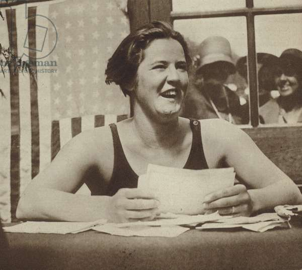 Gertrude Ederle, American swimmer who was the first woman to swim the English Channel, 1926 (b/w photo)